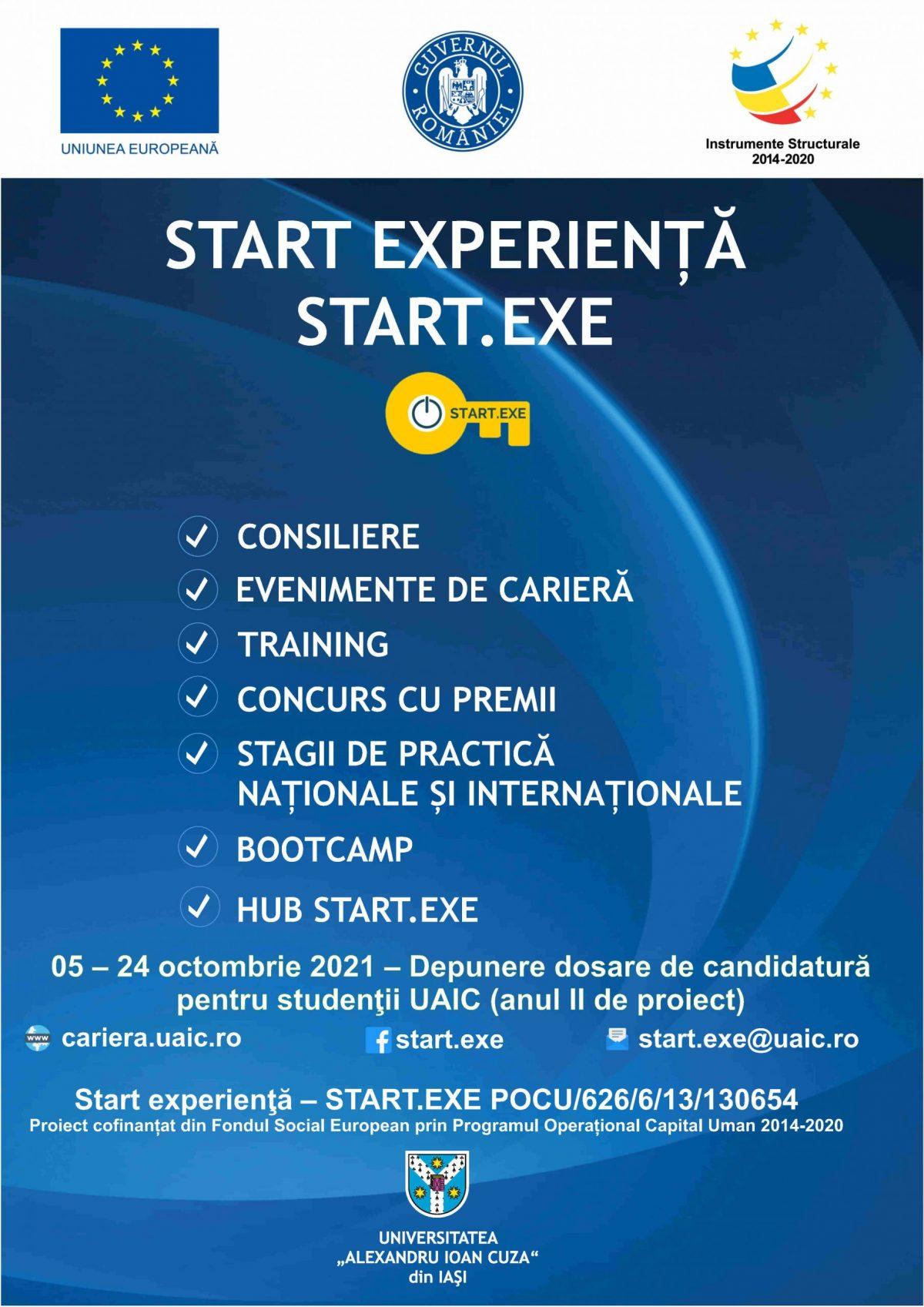 """ANUNT – Proiectul """"Start experienţă – START.EXE"""""""